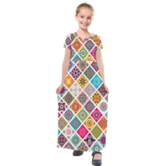 Ethnic Mandala Pattern Kids  Short Sleeve Maxi Dress