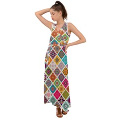 Ethnic Mandala Pattern V Neck Chiffon Maxi Dress