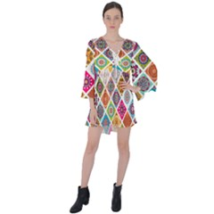 Ethnic Mandala Pattern V-neck Flare Sleeve Mini Dress