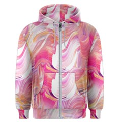 Pink Paint Brush Men s Zipper Hoodie