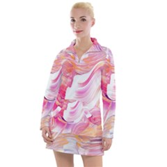 Pink Paint Brush Women s Long Sleeve Casual Dress