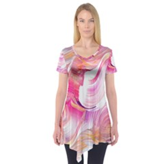 Pink Paint Brush Short Sleeve Tunic