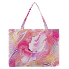 Pink Paint Brush Zipper Medium Tote Bag