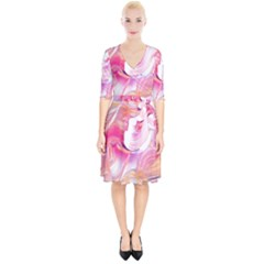 Pink Paint Brush Wrap Up Cocktail Dress