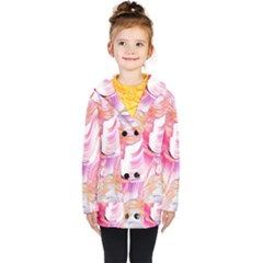 Pink Paint Brush Kids  Double Breasted Button Coat