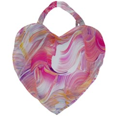 Pink Paint Brush Giant Heart Shaped Tote