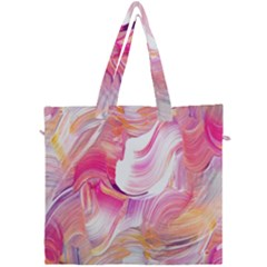 Pink Paint Brush Canvas Travel Bag