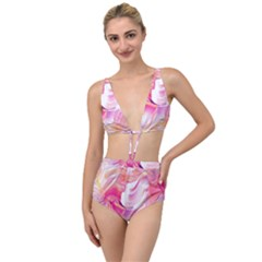 Pink Paint Brush Tied Up Two Piece Swimsuit