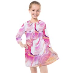Pink Paint Brush Kids  Quarter Sleeve Shirt Dress