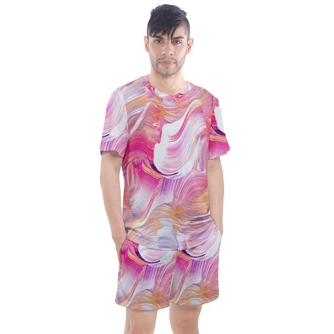 Pink Paint Brush Men s Mesh Tee And Shorts Set by designsbymallika