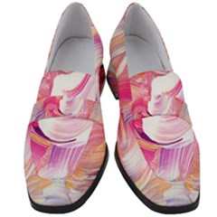 Pink Paint Brush Women s Chunky Heel Loafers