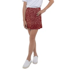 Burgundy Red Confetti Pattern Abstract Art Kids  Tennis Skirt