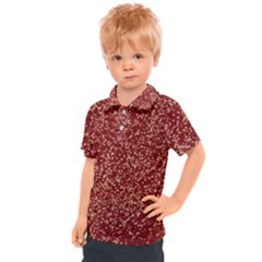 Burgundy Red Confetti Pattern Abstract Art Kids  Polo Tee