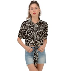 Black And White Confetti Pattern Tie Front Shirt