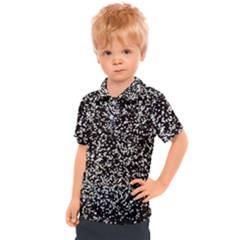 Black And White Confetti Pattern Kids  Polo Tee
