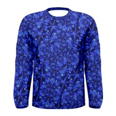 Blue Fancy Ornate Print Pattern Men s Long Sleeve Tee by dflcprintsclothing