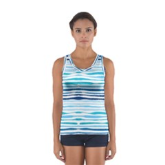Blue Waves Pattern Sport Tank Top  by designsbymallika