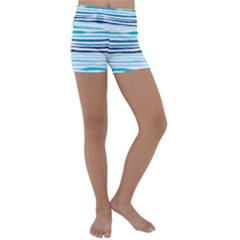 Blue Waves Pattern Kids  Lightweight Velour Yoga Shorts