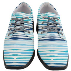 Blue Waves Pattern Women Heeled Oxford Shoes