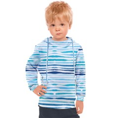 Blue Waves Pattern Kids  Hooded Pullover by designsbymallika