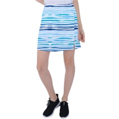 Blue Waves Pattern Tennis Skirt