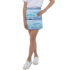 Blue Waves Pattern Kids  Tennis Skirt