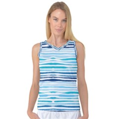 Blue Waves Pattern Women s Basketball Tank Top by designsbymallika