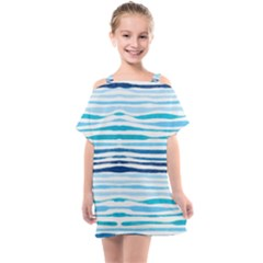 Blue Waves Pattern Kids  One Piece Chiffon Dress