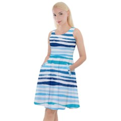 Blue Waves Pattern Knee Length Skater Dress With Pockets