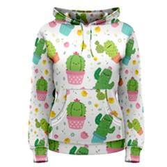 Cactus Pattern Women s Pullover Hoodie by designsbymallika