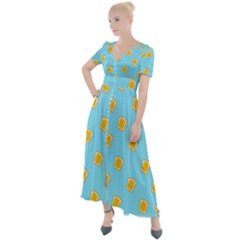 I Love Bread Button Up Short Sleeve Maxi Dress