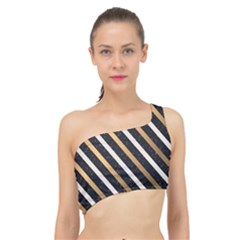 Metallic Stripes Pattern Spliced Up Bikini Top