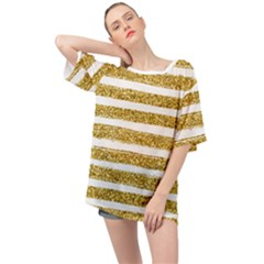 Golden Stripes Oversized Chiffon Top