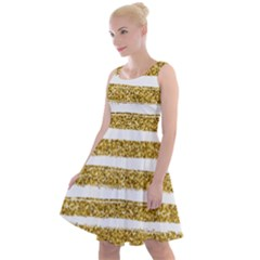 Golden Stripes Knee Length Skater Dress by designsbymallika