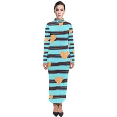 Stripes Heart Pattern Turtleneck Maxi Dress