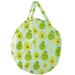 Avocado Love Giant Round Zipper Tote by designsbymallika
