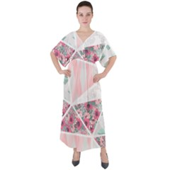 Pink Patchwork V-neck Boho Style Maxi Dress