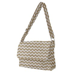 Gold Glitter Chevron Full Print Messenger Bag (m) by mccallacoulture