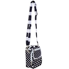 Black With White Polka Dots Shoulder Strap Belt Bag by mccallacoulture