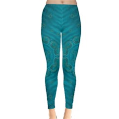 Spiritual Sun Is Raising Over The Peace Of Mind Sea Leggings  by pepitasart