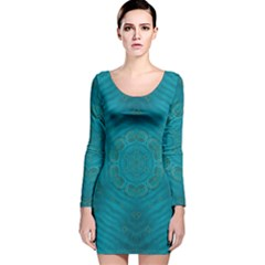 Spiritual Sun Is Raising Over The Peace Of Mind Sea Long Sleeve Velvet Bodycon Dress by pepitasart