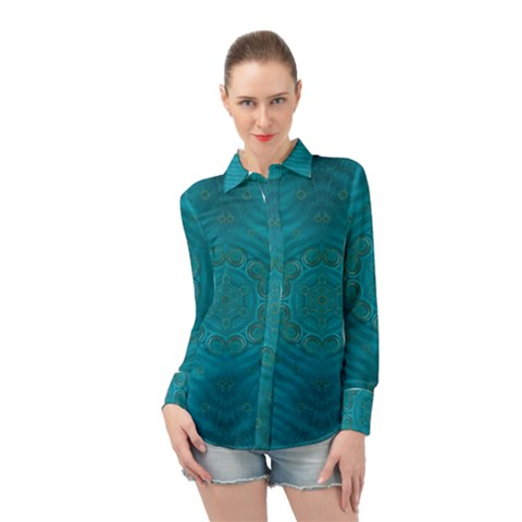 Spiritual Sun Is Raising Over The Peace Of Mind Sea Long Sleeve Chiffon Shirt by pepitasart