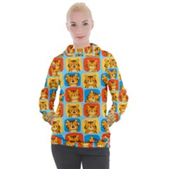 Cute Tiger Pattern Women s Hooded Pullover