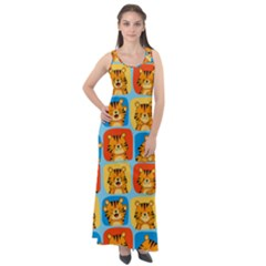 Cute Tiger Pattern Sleeveless Velour Maxi Dress