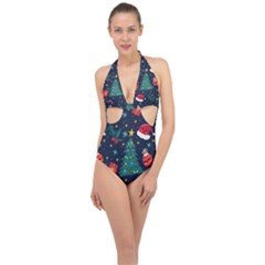 Christmas  Halter Front Plunge Swimsuit by designsbymallika
