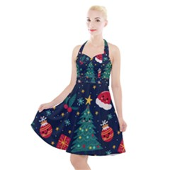 Christmas  Halter Party Swing Dress