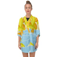 Salad Fruit Mixed Bowl Stacked Half Sleeve Chiffon Kimono