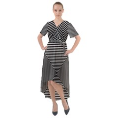 Maze Design Black White Background Front Wrap High Low Dress