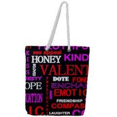 Love Friendship Friends Heart Full Print Rope Handle Tote (large)