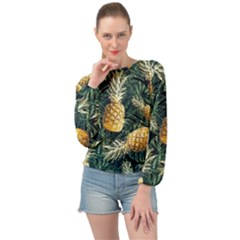 Pattern Ananas Tropical Banded Bottom Chiffon Top